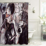 Jazz Band with Female Dancers Artist Shower Curtain - Grey