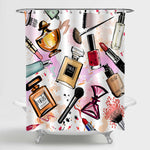 Watercolor Cosmetics and Perfumes Collection Shower Curtain - Multicolor