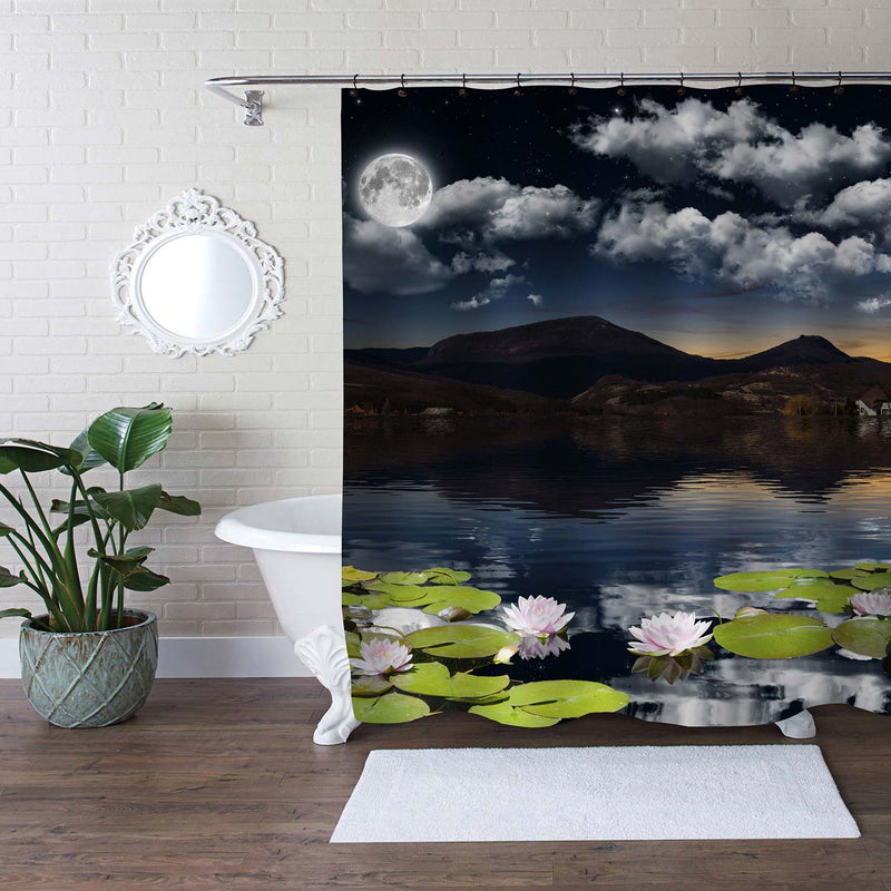 Night View of the Water Lily Flowers at Pond Shower Curtain - Blue Green
