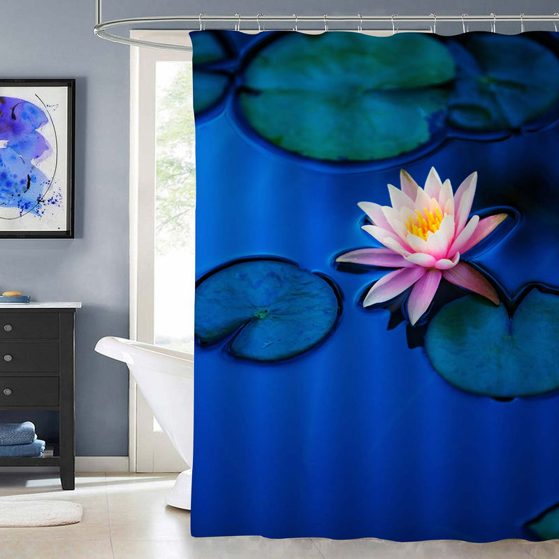 Water Lily on Calm Garden Pond Shower Curtain - Green Pink