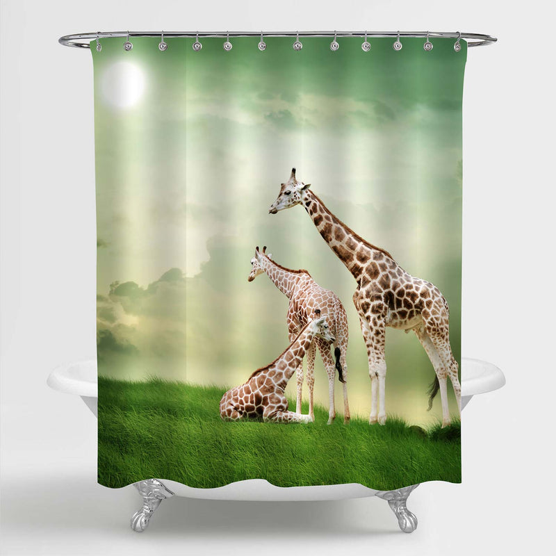 Three Giraffes Relaxing Shower Curtain - Green Brown
