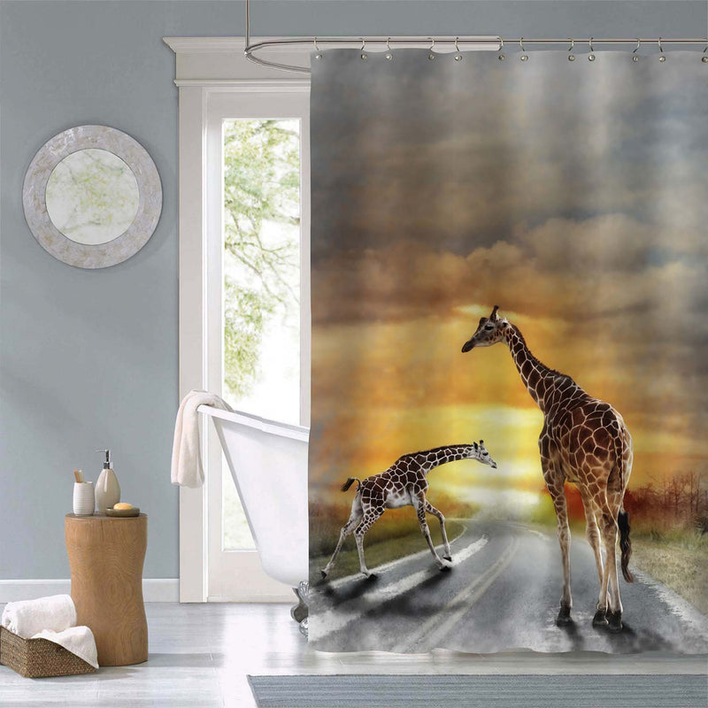 Two Giraffes Walking on the Road Shower Curtain - Gold