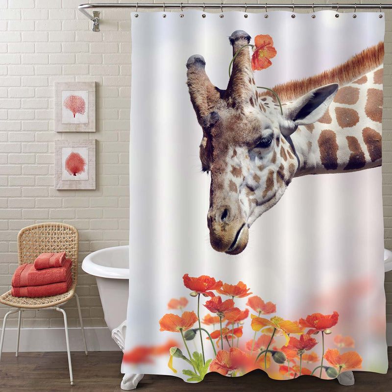 Giraffe and Poppy Flowers Shower Curtain - Red Brown