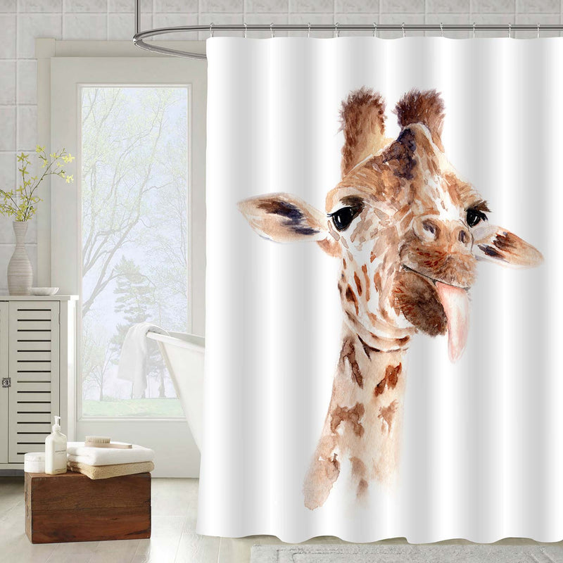 Cloese Up Portrait of Giraffe Shower Curtain - Brown