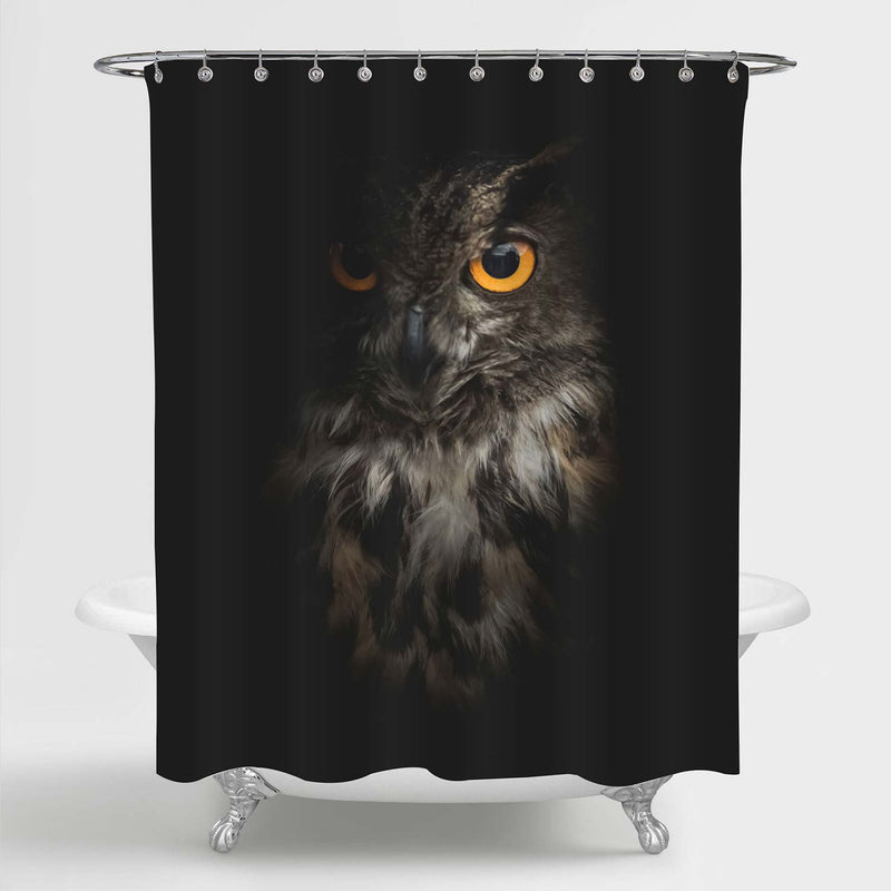 Eagle Owl Portrait Shower Curtain - Black Brown