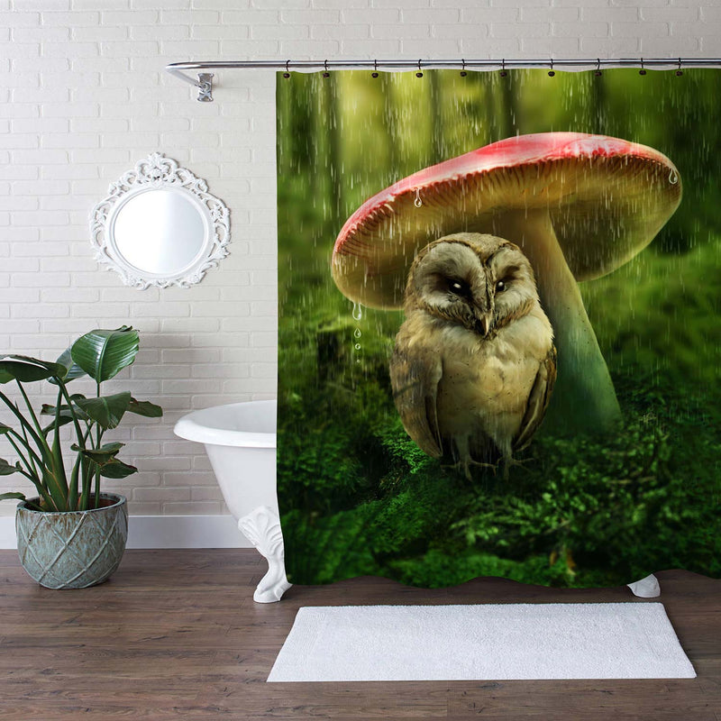Little Owl Hidding Under Mushroom from Rain Shower Curtain - Green Brown