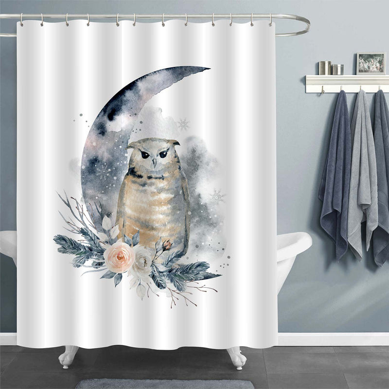 Moon, Owl, Bouquet of Roses and Fir Branches Shower Curtain