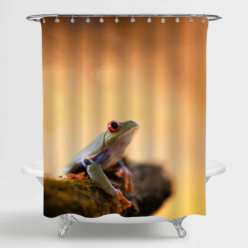 Exotic Treefrog in Tropical Rain Forest Shower Curtain - Orange