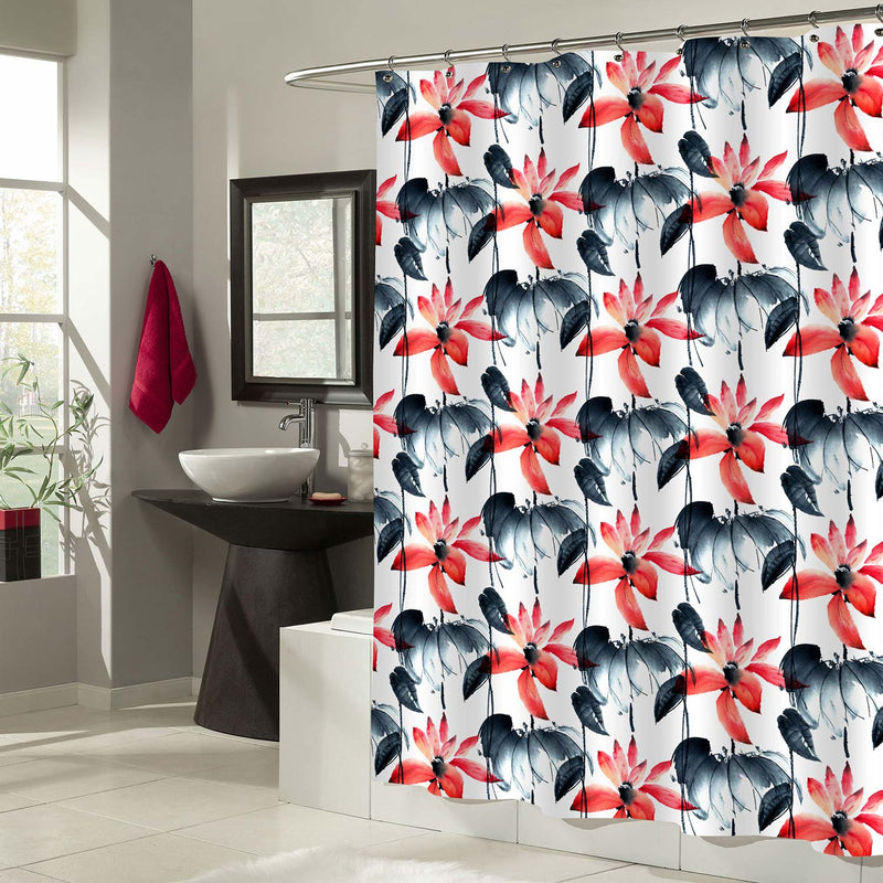 Oriental Traditional Painting Lotus Florals Shower Decorations, Summer Blooming Waterlilies Bathroom Curtain for Women and Girls, Waterproof Fabric Bathroom Accessories, Red Black White, 50 by 78