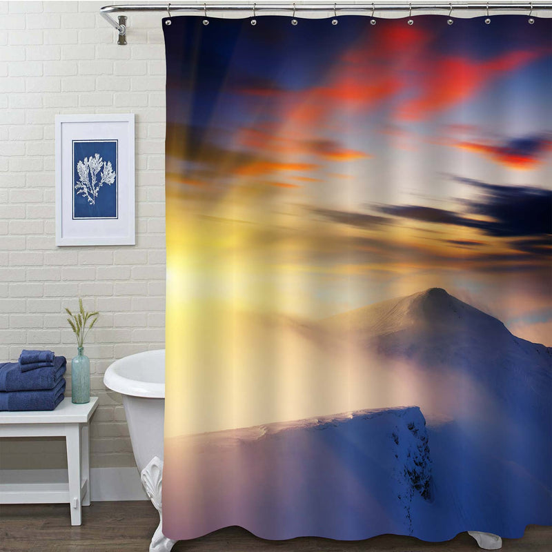 Great View of Mountain Morning Sunrise Shower Curtain - Blue White