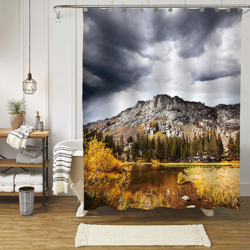 Mountain Under Thinck Clouds Shower Curtain - Grey Gold