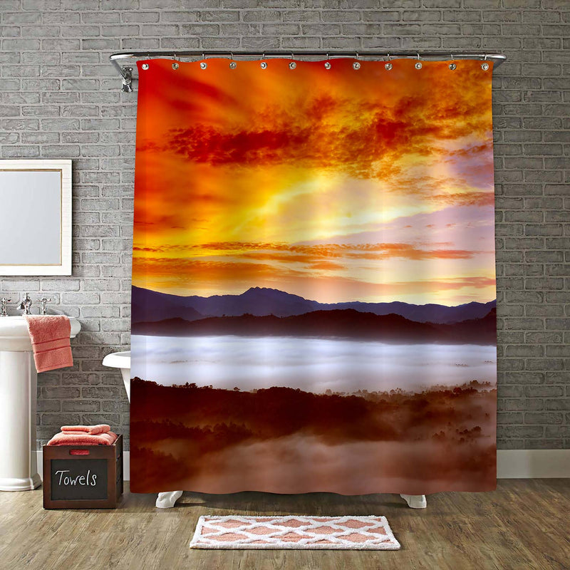 Dawn in Mountains Covered Mist with Bright Sky Shower Curtain - Gold Red
