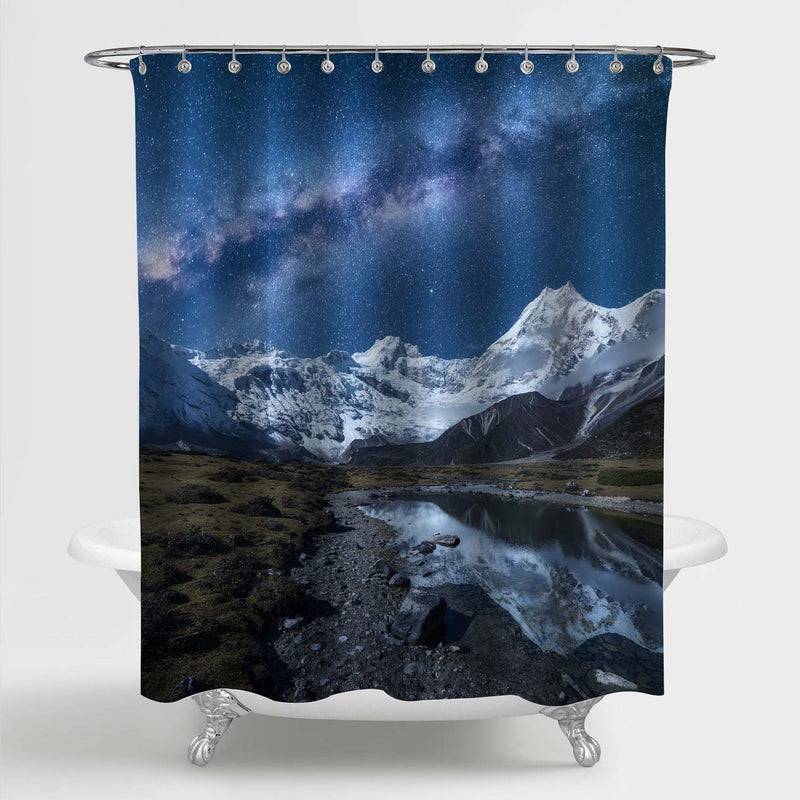 Milky Way and High Mountains Shower Curtain - Blue