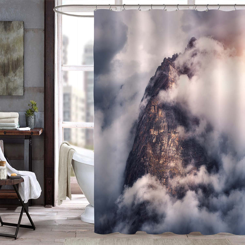 Majestical Mountains in Clouds Shower Curtain - Grey