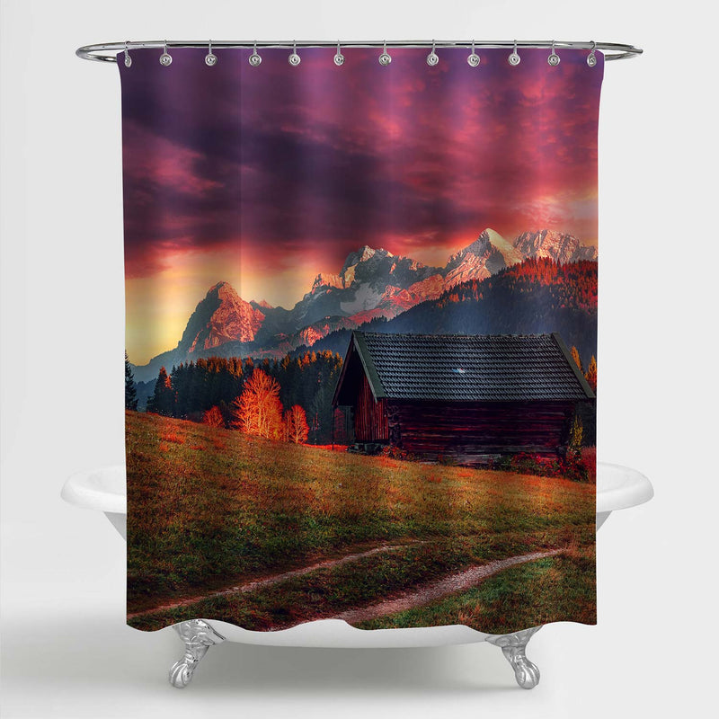 Rustic Farm House at Magnificent Alpine Highlands Shower Curtain - Purple Red