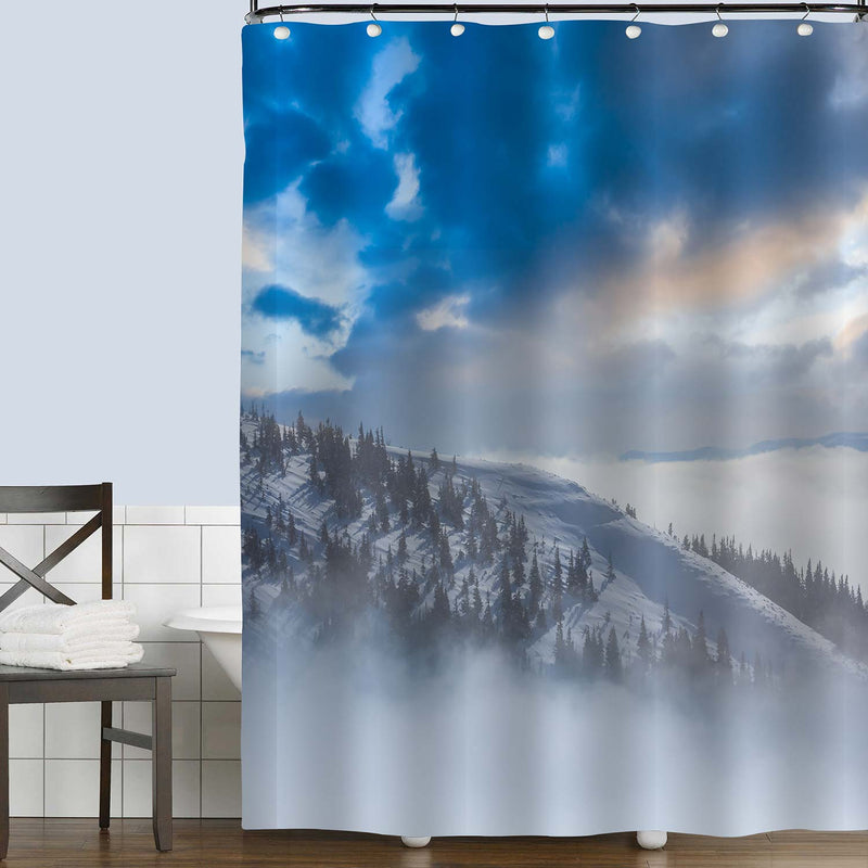 Snowbound Mountain Slope in a Dense Mist Shower Curtain - Blue Grey