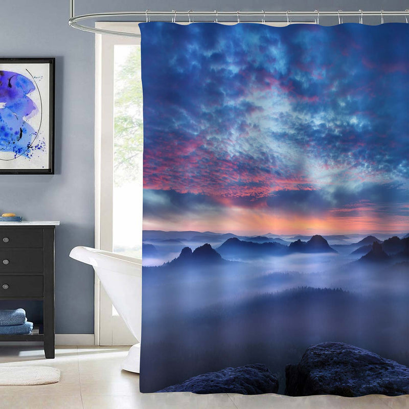 Peaks of Mountain at Sunrise in the Morning Fog Shower Curtain - Blue Red