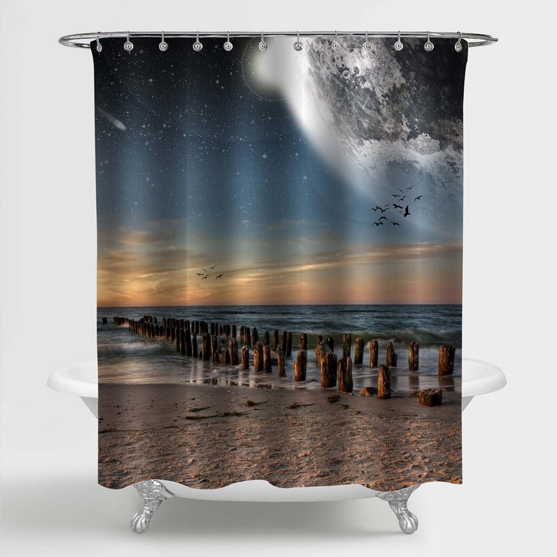 Planet Costaline Beach Scenery Shower Curtain