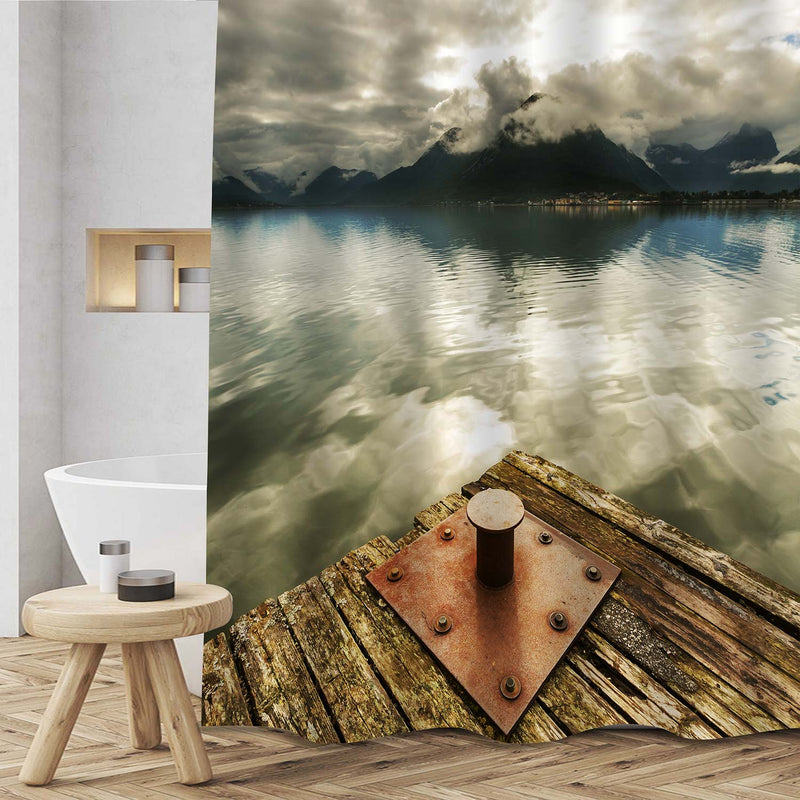 Old Wooden Dock and Calm Water with Foggy Mountain Peaks Shower Curtain