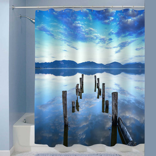 Wooden Pier Remains on a Lake Shower Curtain - Blue