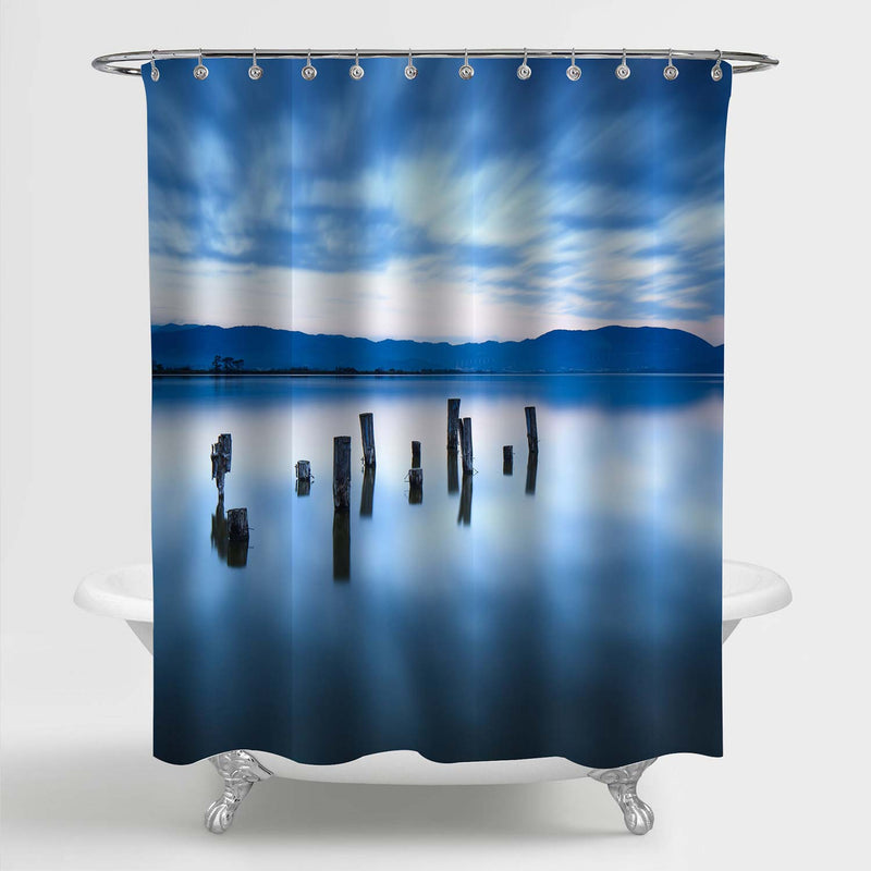 Wooden Jetty Remains on a Lake Shower Curtain - Blue