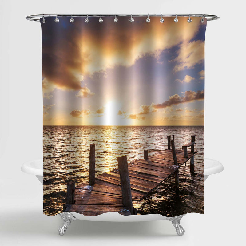 Boardwalk on Ocean Beach Home Decor, Beautiful Sunset Over The Sea and Old Wooden Dock Shower Curtain for Bathtub and Shower Stall, Gold, Blue, 72 W x 72 L inches Standard