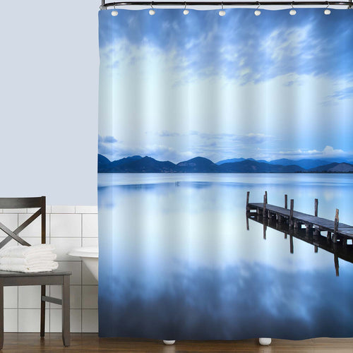 Wooden Boardwalk Through into a Calm Lake Shower Curtain - Blue