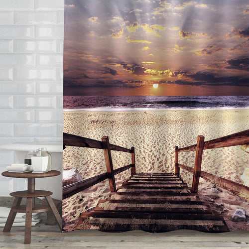 Wooden Boardwalk on the Beach Shower Curtain - Brown Sand