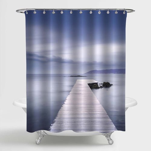 Wooden Jetty in the Bay, Rocks and Sea on Misty Sunset Shower Curtain - Grey Blue