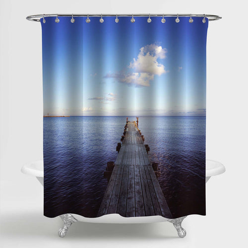 Wooden Long Bridge Pier at Sunrise Morning Shower Curtain - Blue