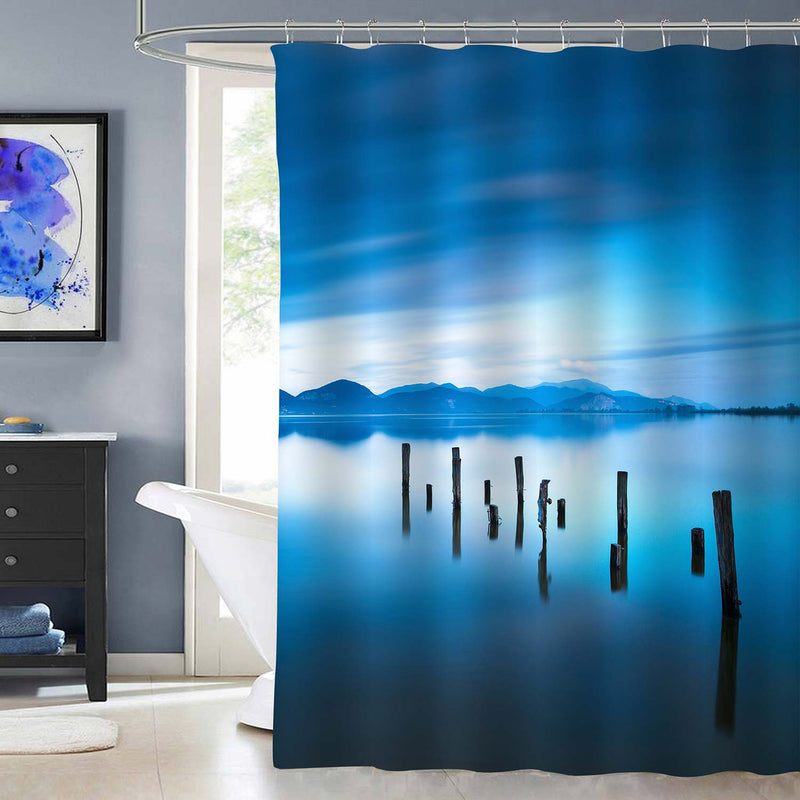 Old Broken Wooden Jetty on Water Shower Curtain - Blue