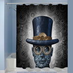 Mechanical Human Head Made of Gears and Cogs Shower Curtain - Grey