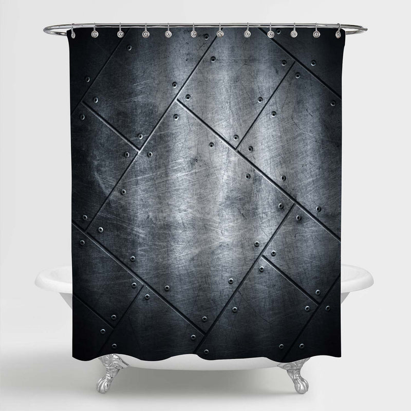 Scratched Metal Plate with Rivets on Steel Background Shower Curtain - Grey