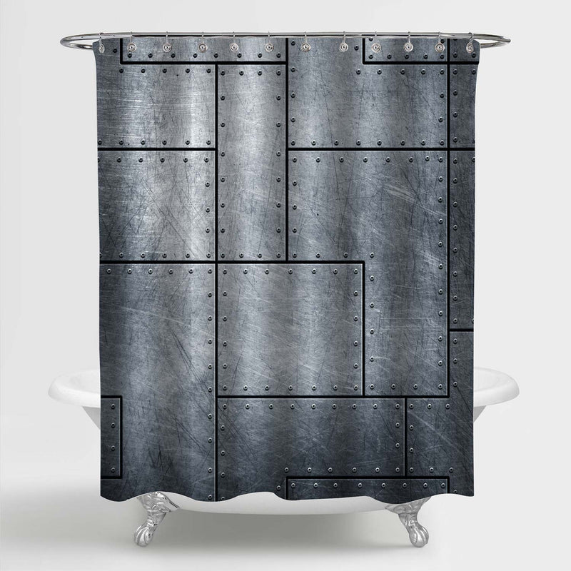 Metallic Scratched Old Steel Plate with Rivets Shower Curtain - Grey