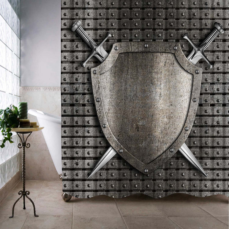 Medieval Metal Knight Shield and Two Swords Crossed Shower Curtain - Silver