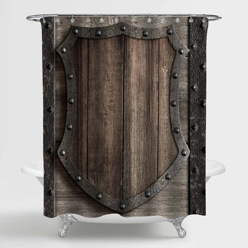 Wood Shield on Medieval Castle Gate Shower Curtain - Dark Grey