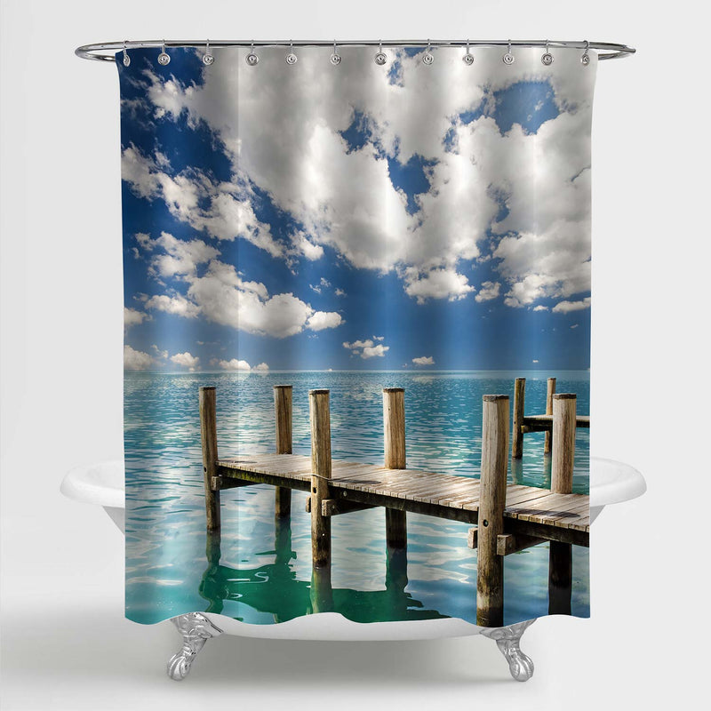 Wooden Boat Jetty Near the Lake Shore with Cloudy Sky Shower Curtain - Blue Green