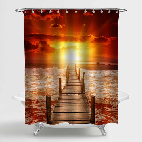 Wooden Pier for Boats in the Ocean Sunset Shower Curtain - Red Gold