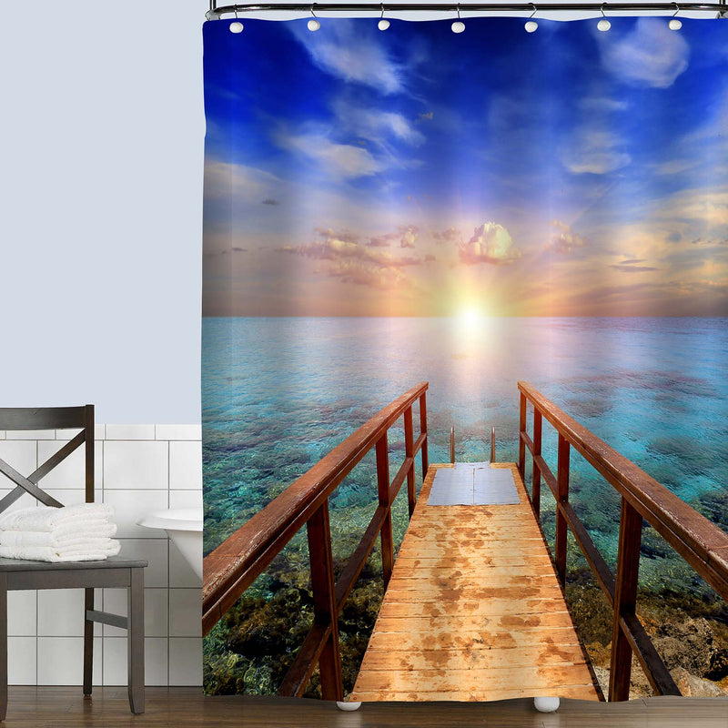 Wooden Bridge on Sea Against Sunset Shower Curtain - Multicolor