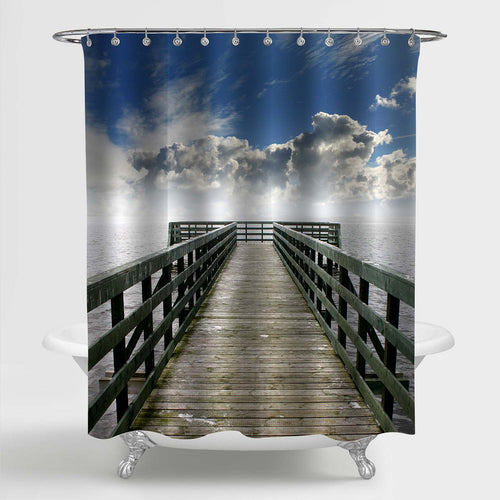 Wooden Boardwalk Shower Curtain - Blue Grey