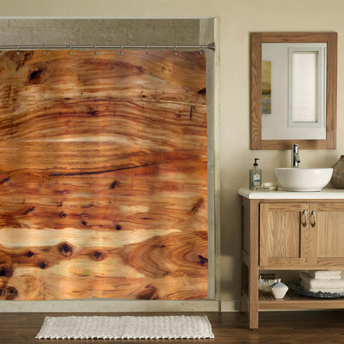 Wooden Planks Pattern Shower Curtain - Brown