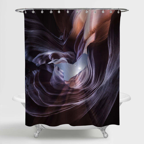 Rock Waves of Antelope Canyon in Arizona on Starry Sky Background Shower Curtain
