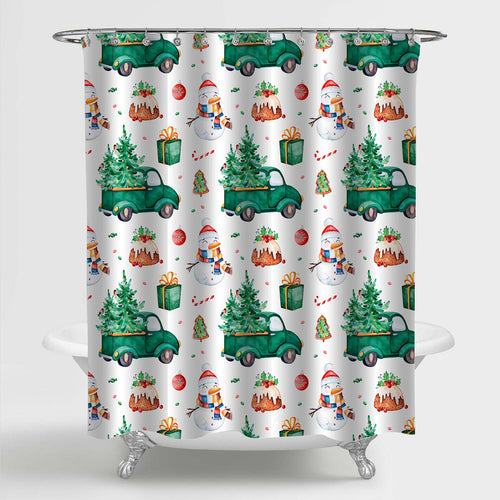Watercolor Winter Holiday Pattern Shower Curtain - Green Red
