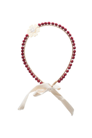 Burgundy with Gold Flower Headband