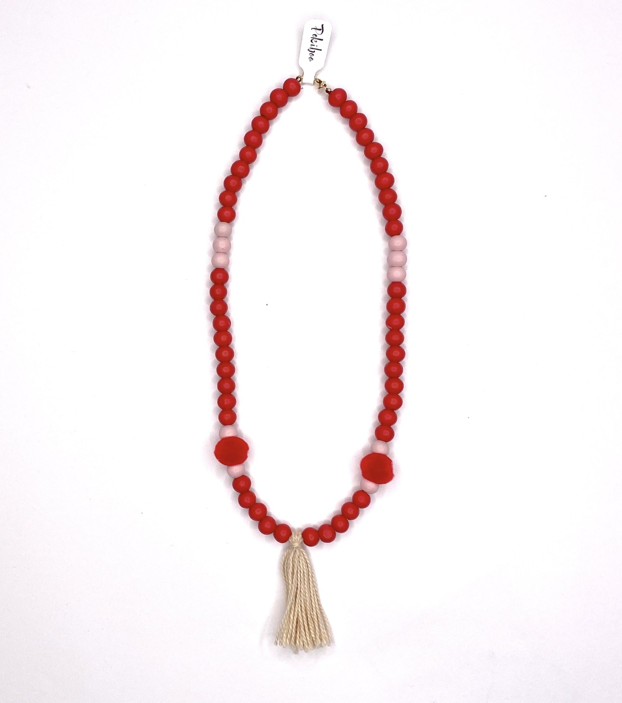 Red necklace and bracelets