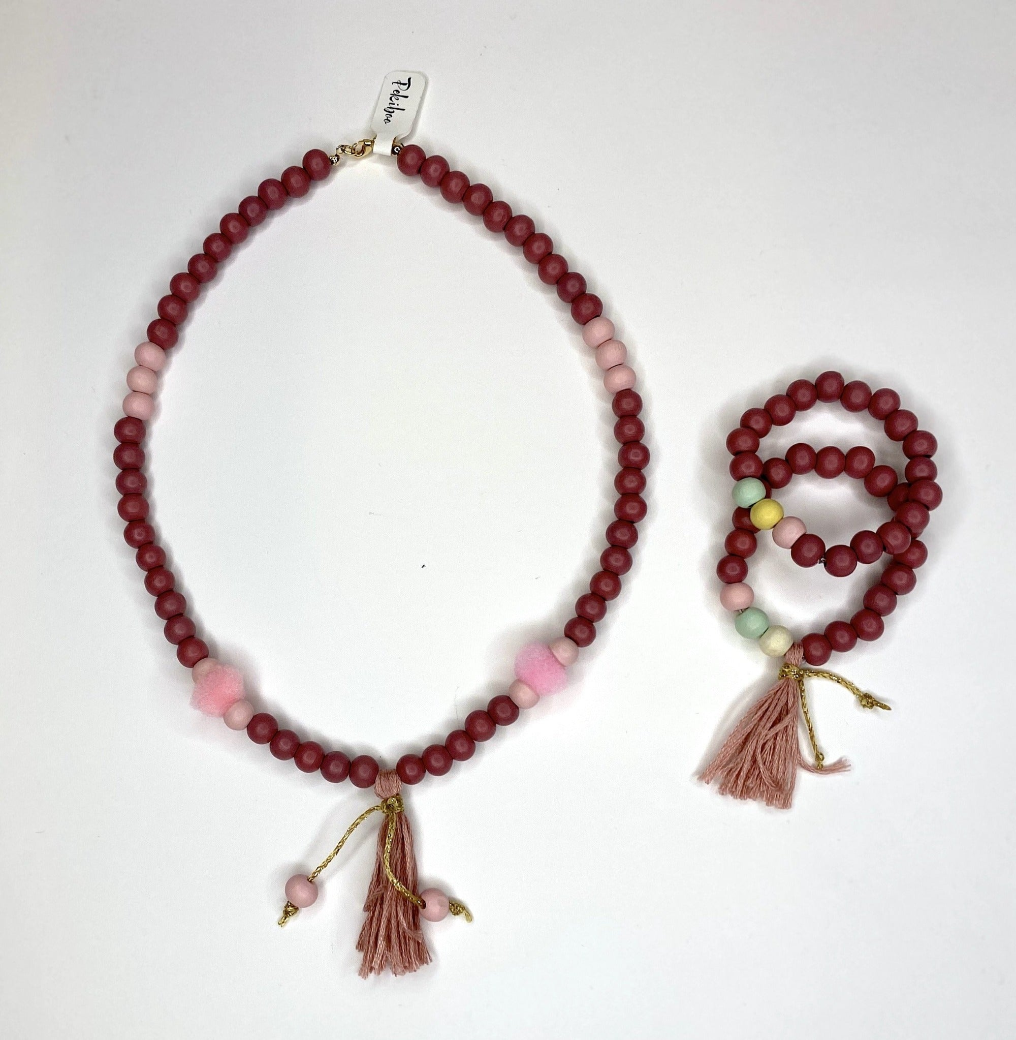 Pink Stick Necklace and Bracelets