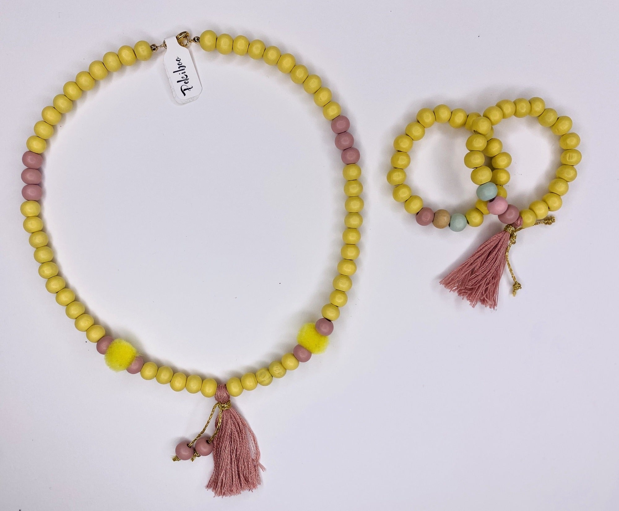 Yellow Necklace and Bracelets