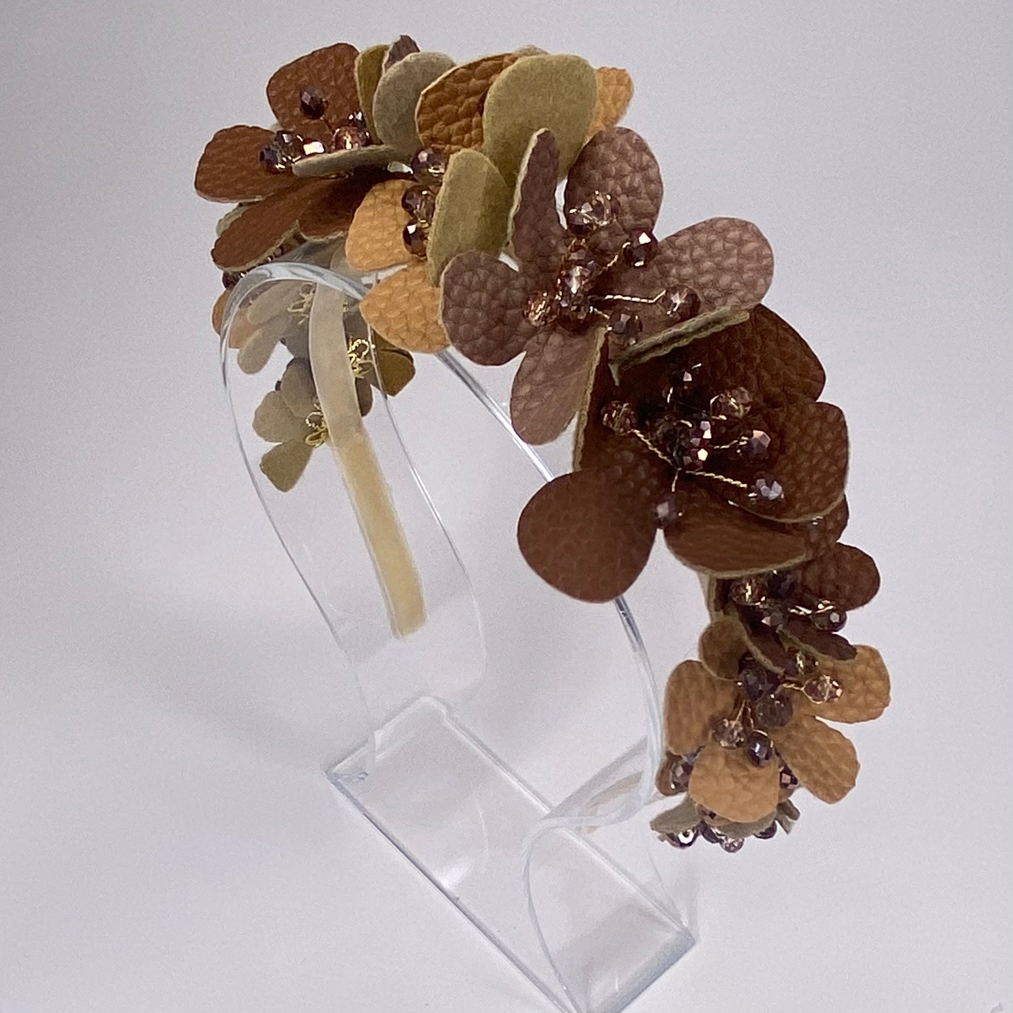 Leather Flower Headband Brown