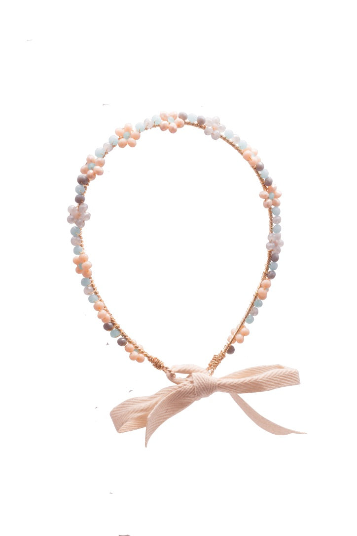 White & Peach  Headband
