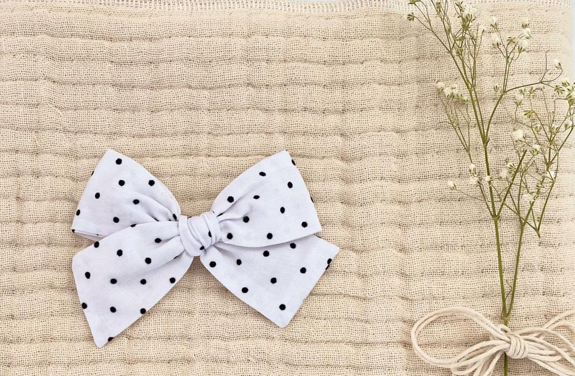White With Black Dots Bow